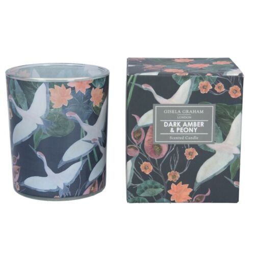 Gisela Graham Boxed Scented Candle Dark Amber and Peony Dark Amber And Peony