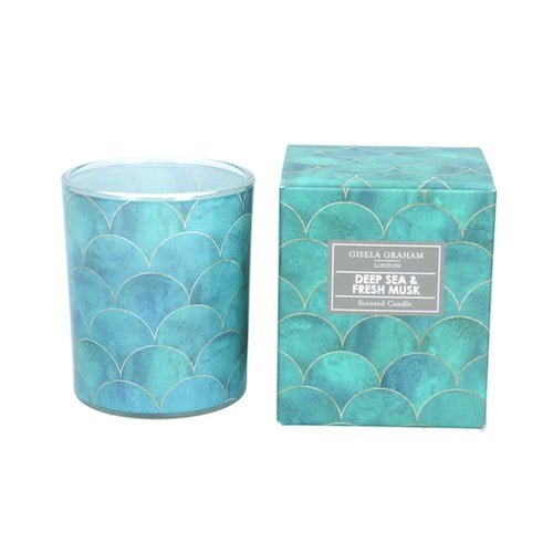 Gisela Graham Boxed Scented Candle. Deep Sea and Fresh Musk