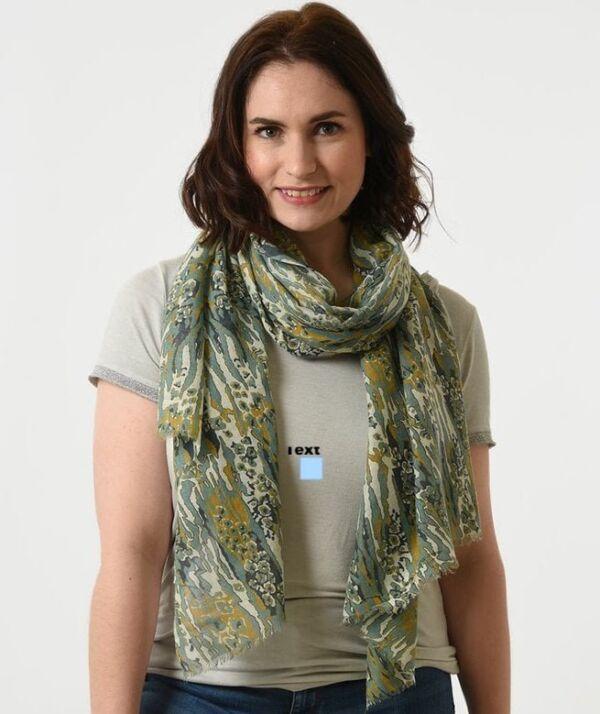 abstract animal print scarf mustard & green
