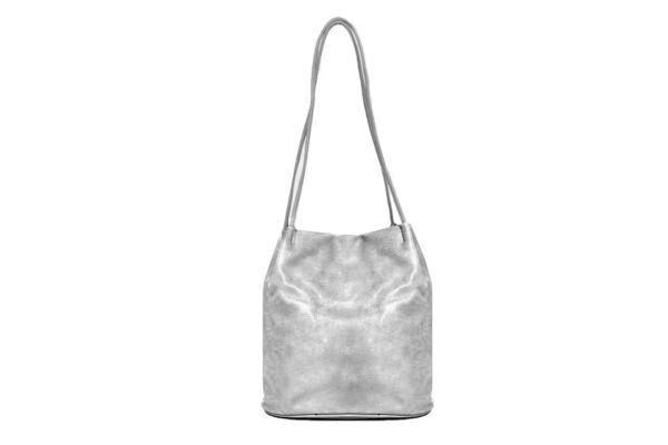 Silver strappy shoulder bag
