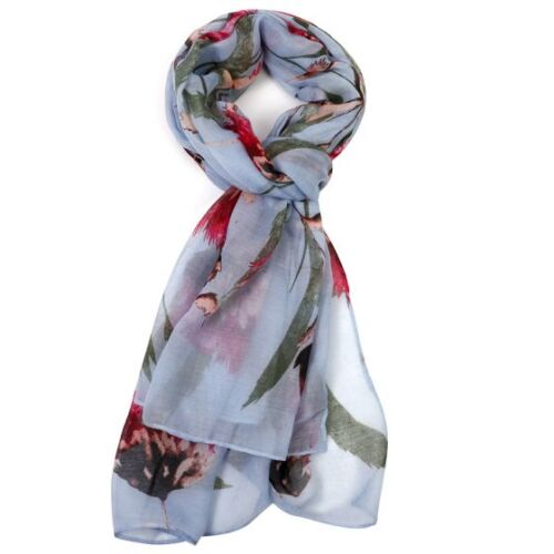 blue scarf with large pink flower print