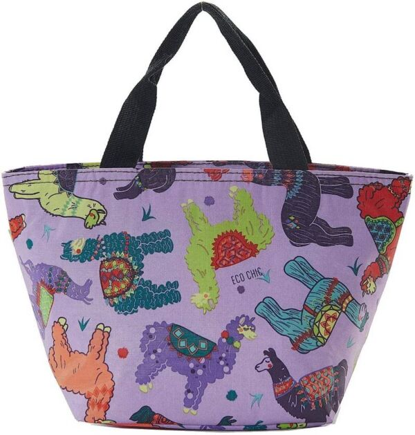 lunch bag with colourful llama print