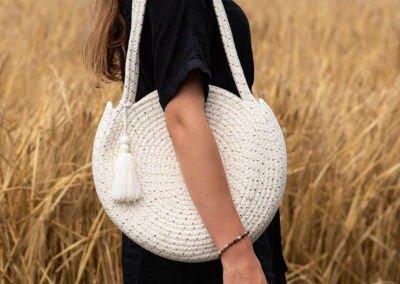 round rope bag white