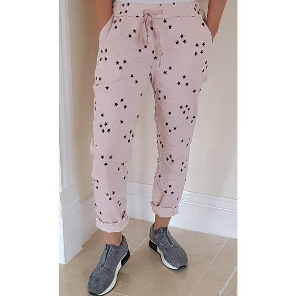 Ladies magic trousers Blush with stars