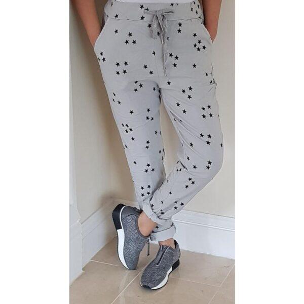 Ladies magis trousers in grey star print