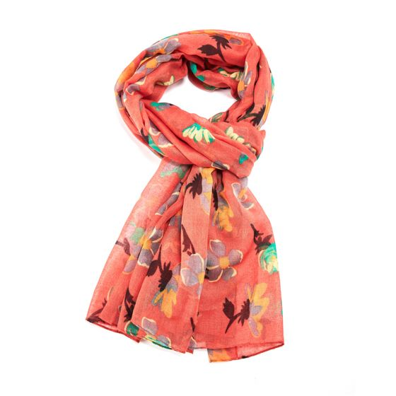 peach scarf with large flower print
