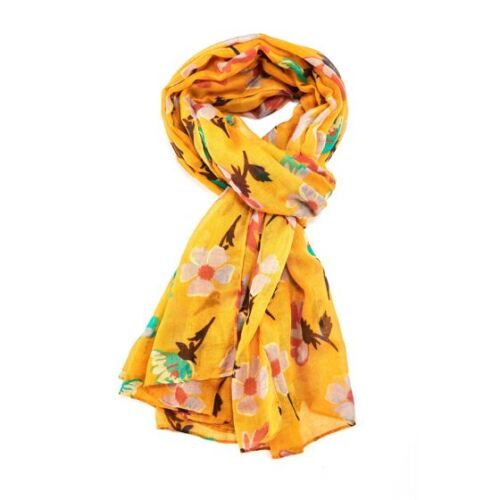 yellow scarf with large daisy flower print