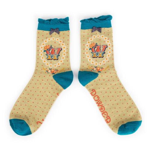 powder alphabet ankle socks letter w