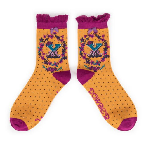 powder alphabet ankle socks letter x