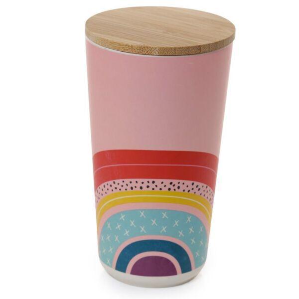 Bamboo Storage Jar . Rainbow Design