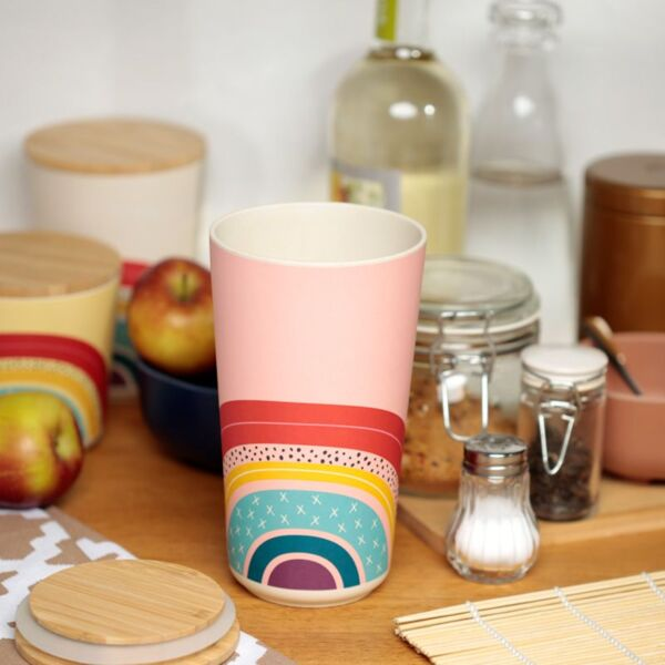 Bamboo Storage Jar Pink Rainbow Design
