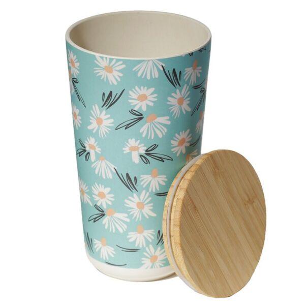 Bamboo Storage Jar Daisy Design