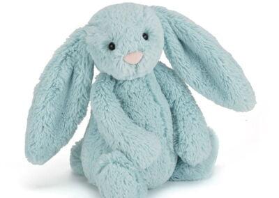 jellycat bashful bunny soft toy in aqua