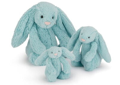 jellycat bashful bunny soft toys in aqua