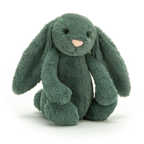jellycat bashful bunny soft toy in green forest