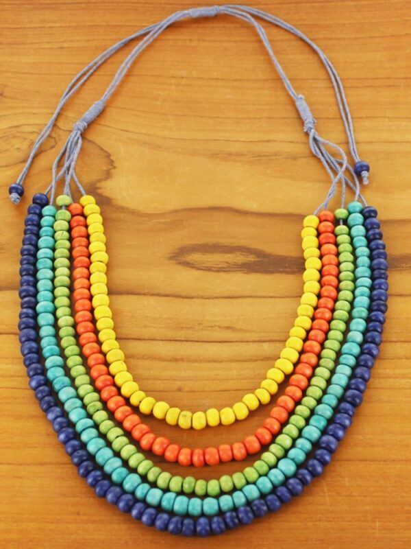 Necklace Bead Wooden Strand Multi