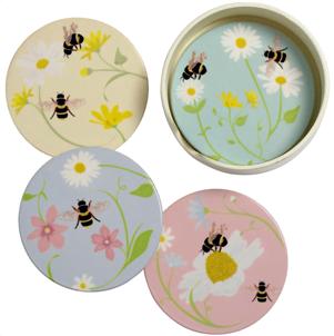 bee coasters set of 4