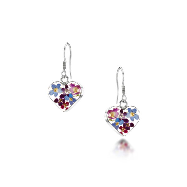 Heart forgetmenot earrings silver multi colour