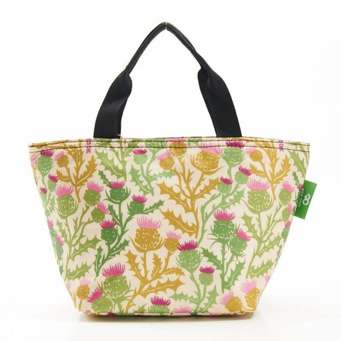 lunch bag tote with beautiful thistle print