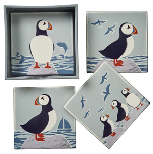 puffin coaster collection of 4
