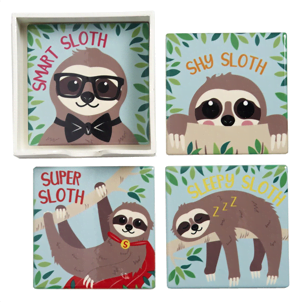 sloth coaster collection of 4
