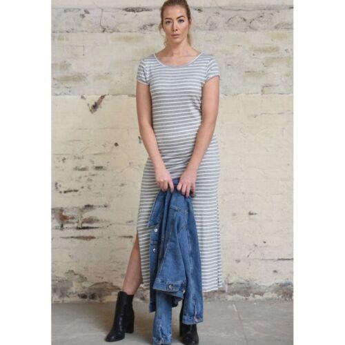 Long stripe jersey dress in grey