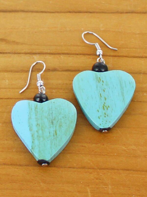 Blue .Earrings Heart Wooden