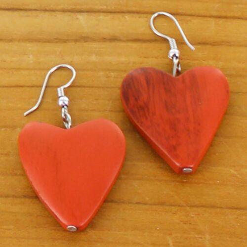 .Orange .Earrings Heart Wooden