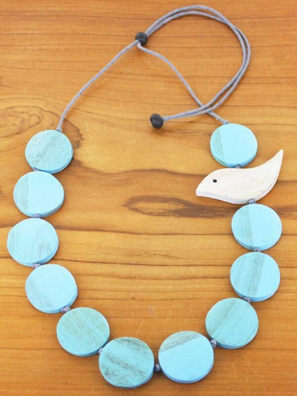 Blue. Necklace Bird Wooden