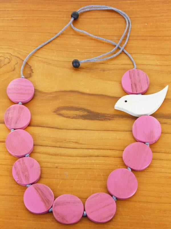 Pink .Necklace Bird Wooden