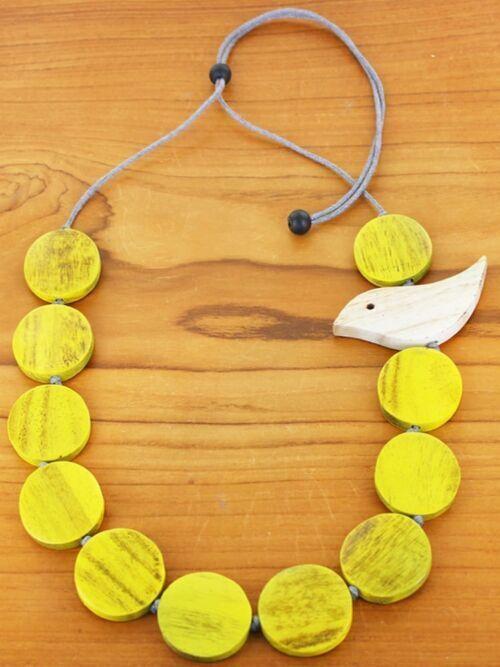 Yellow .Necklace Bird Wooden