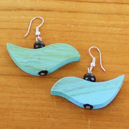 Blue .Earrings Bird Wooden