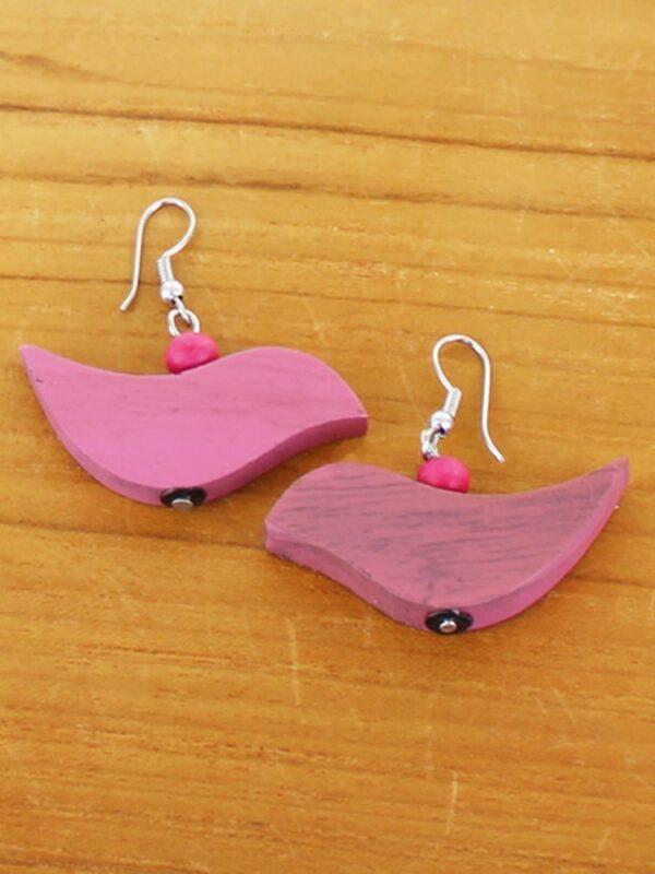 Pink .Earrings Bird Wooden