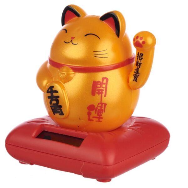 Lucky Golden Waving Cat, Solar Powered