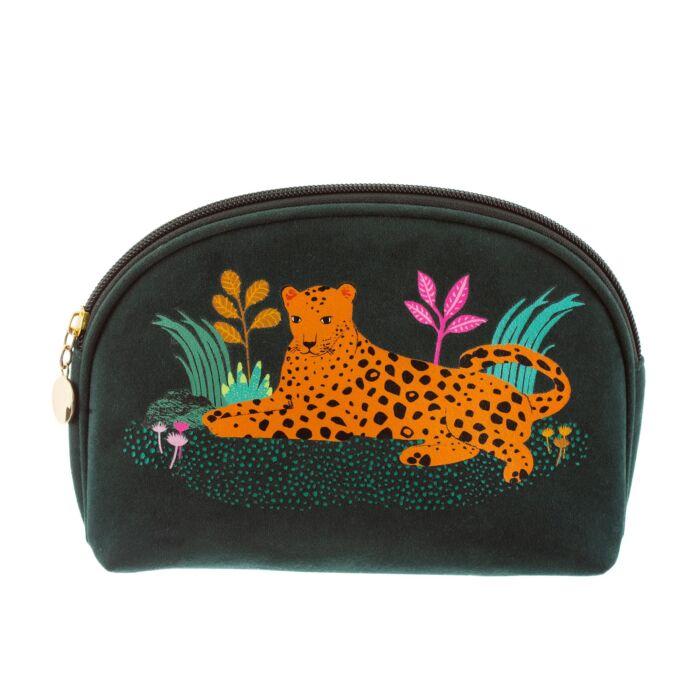 Leopard cosmetic bag. velvet