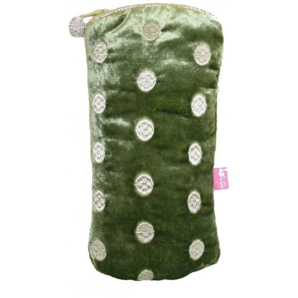 Olive velvet glasses case