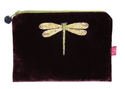 small velvet purse , fig with dragonfly design