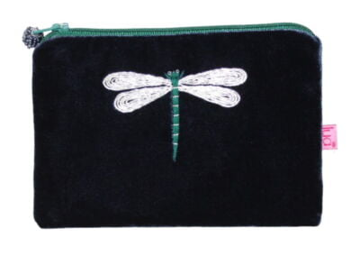 Navy velvet purse small