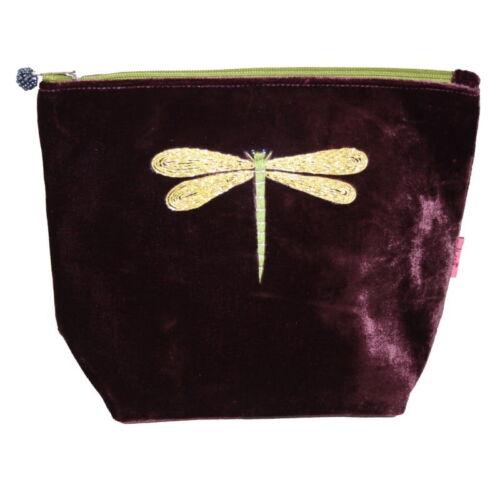 velvet cosmetic bag fig dragonfly design