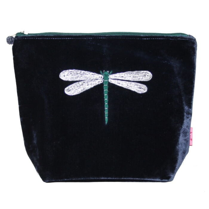 Cosmetic bag in navy with dragonfly