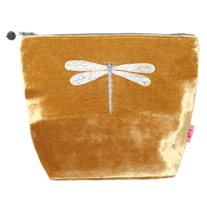 Ochre cosmetic case velvet with dragonfly design