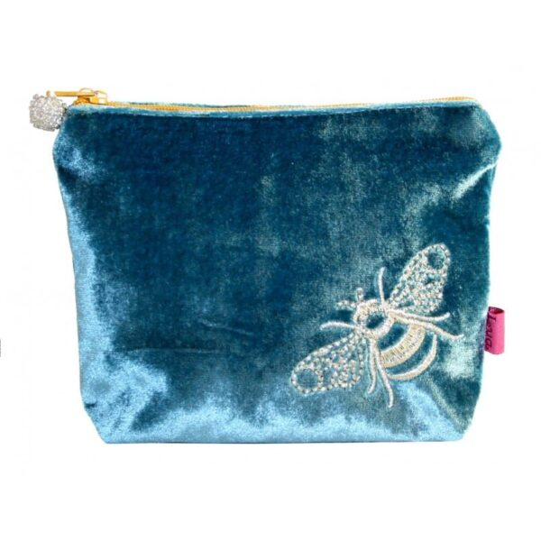 Teal Blue cosmetic case velvet with bee