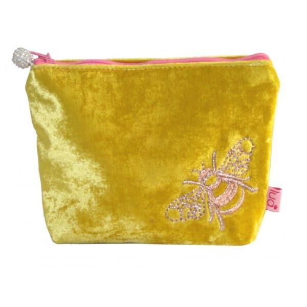 Lua Velvet yellow bee cosmetic purse