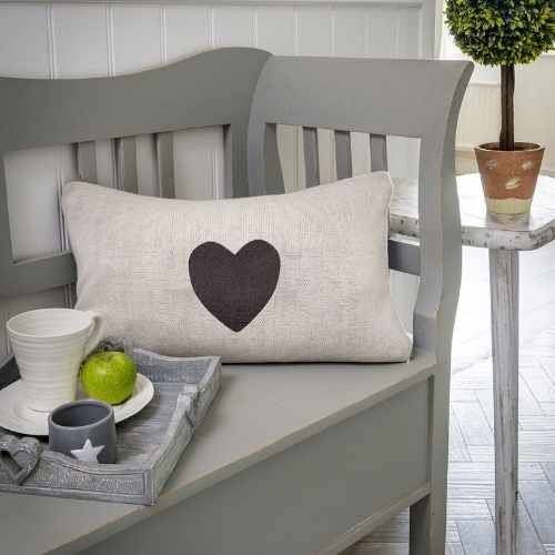 Double sided heart design cushion to match the throw