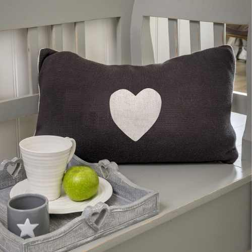 Double sided heart cushion in grey and cream