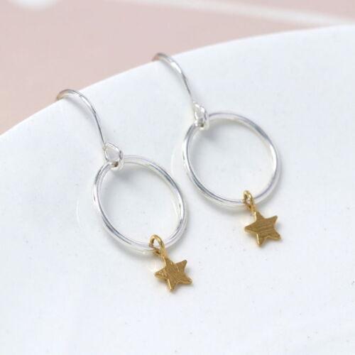 Sterling Silver hoop earrings with gold star