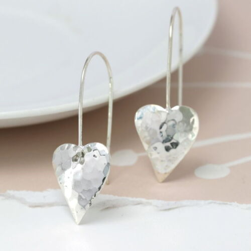 sterling silver hammered heart earring