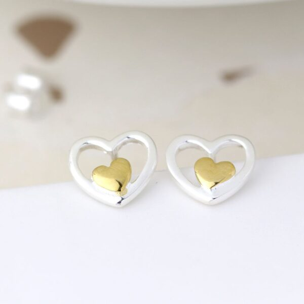 Silver Sterling Heart Studs With Gold Finishing
