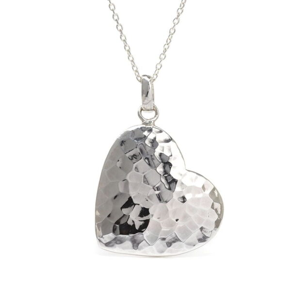 Sterling Silver Necklace Haert Hammered Silver Sterling