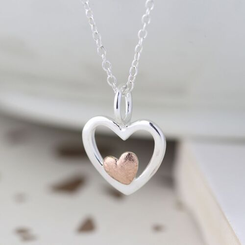 Silver Sterling Heart Necklace . With small gold plated heart